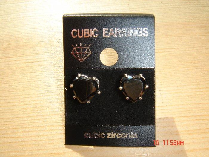 Genuine 925 Silver Black Cubic Zirconia Heart shape cut 8 MM Stud Earrings