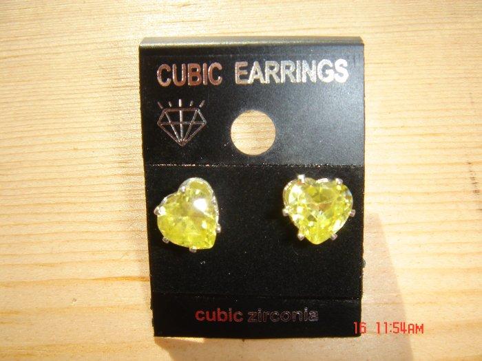 Fine Silver Yellow Cubic Zirconia Heart shape cut 8 MM Stud Earrings