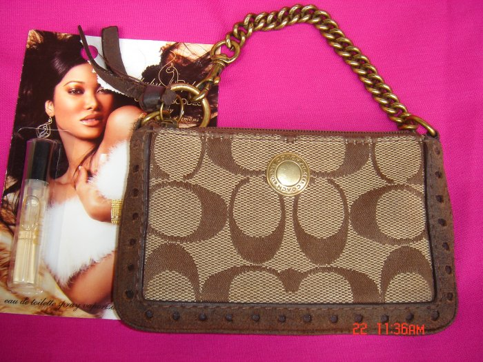 Authentic Leather Coach Signature Coin Purse FREE Gift