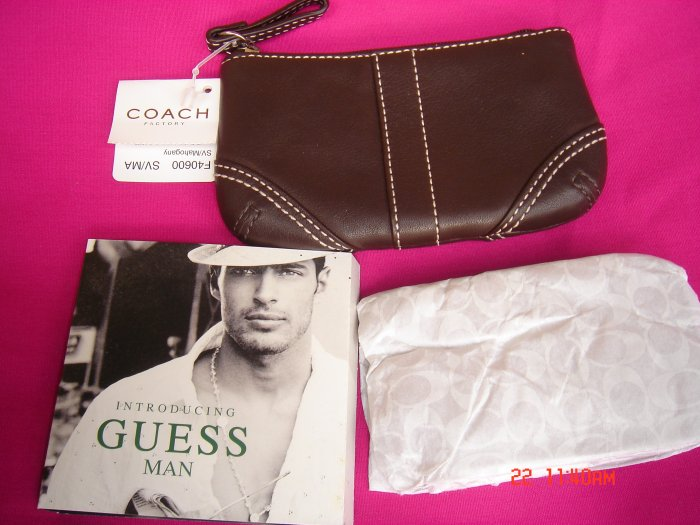 NEW Authentic COACH Brown Leather Medium Skinny Coin Wallet bag