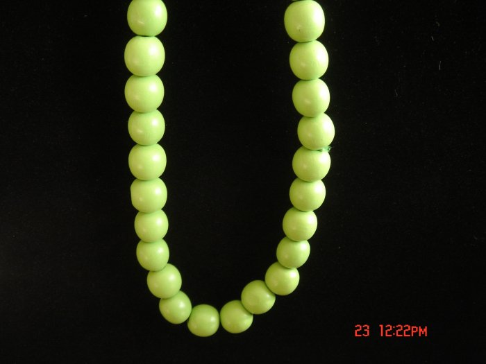 Stretch Sharp Green Wood Beads Necklace w/ 24mm Ball**FREE Gift Bag