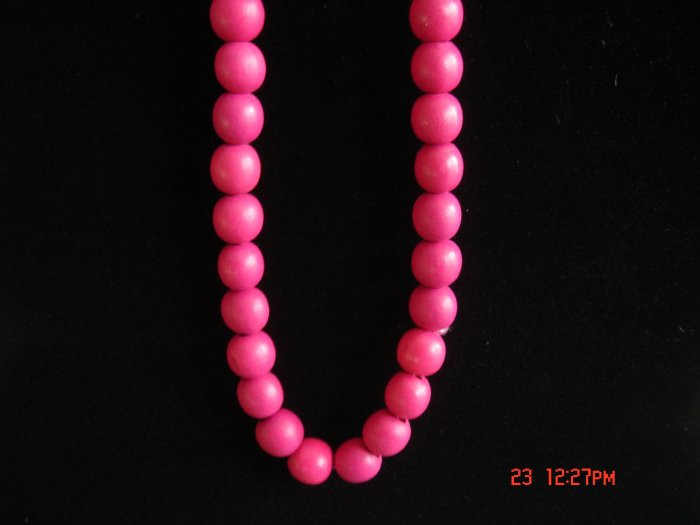 Stretch HOT Red Wood Beads Necklace w/ 24mm Ball**FREE SHIP