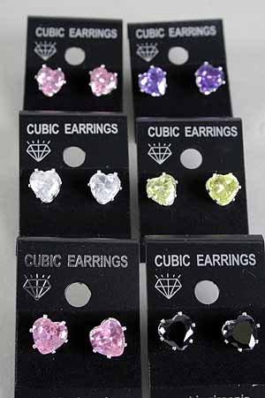 Genuine Simulated Diamond Heart Cubic Zirconia Stud Post Earrings