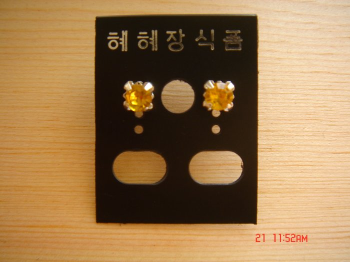 Fashion Korean Yellow Colorstone Studs Earrings ON SALE 2009**FREE SHIP