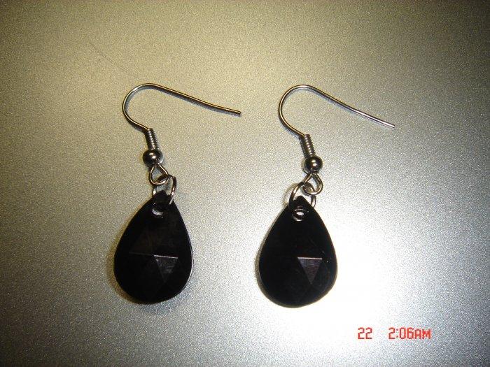 Fashion Handmade Black Acrylic Teardrop Earrings ON SALE 2009**FREE SHIP