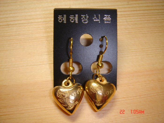 Fashion Handmade Gold Heart with LOVE print Earrings ON SALE 2009**FREE SHIP