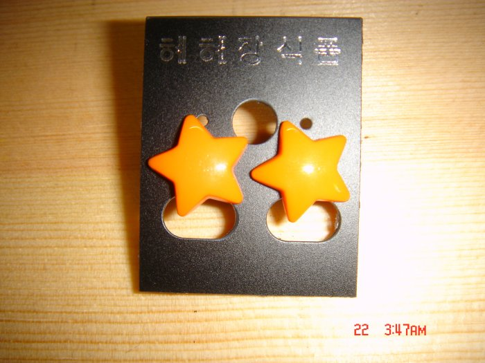 Fashion Korean Acrylic Orange STAR Studs Earrings ON SALE 2009**FREE SHIP