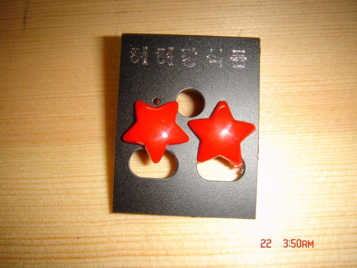Fashion Korean Acrylic Red STAR Studs Earrings ON SALE 2009**