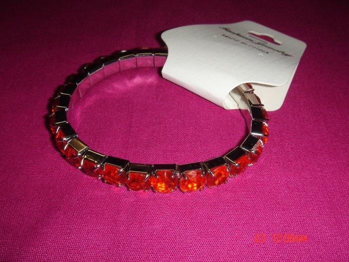 High Quality Ruby Simulated Diamond Stretch Tennis Bracelet on Tag