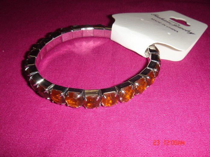 High Quality Brown Simulated Diamond Stretch Tennis Bracelet on Tag
