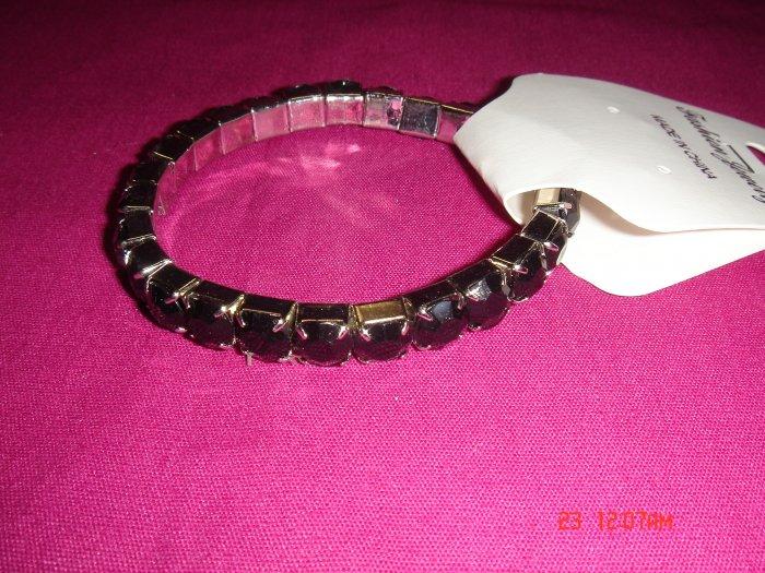 High Quality Black Simulated Diamond Stretch Tennis Bracelet on Tag