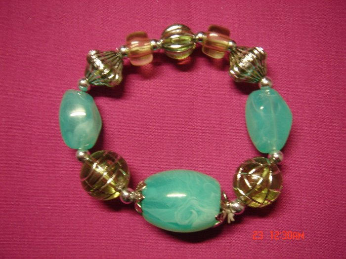 Real Jade Green Marble and Acrylic Bead Stretch Bracelet*