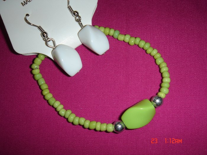Acrylic Bead Silver Ball Stretch Bracelet Earring Set*CLEARANCE Sale