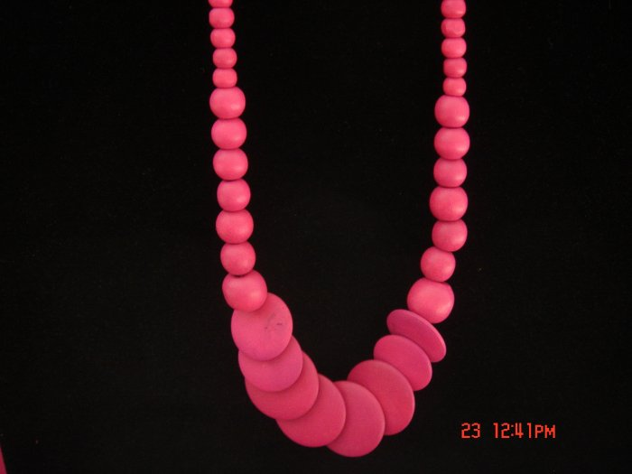 Promotional Price*Red Round Disk Wood Bead Necklace**FREE snowflake Paper Gift Bag