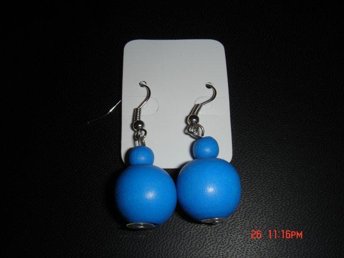 Promotional Price*Blue Wood Bead 925 hook Dangle Earrings on Card**