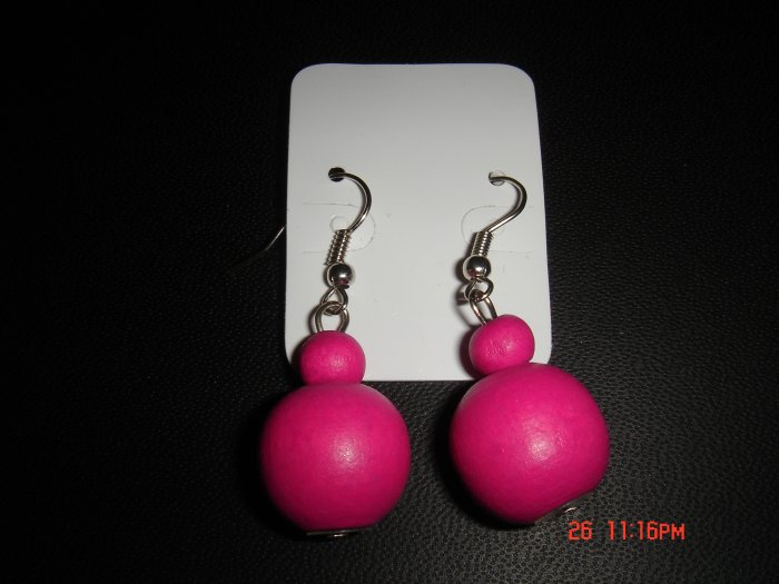 Promotional Price*Red Wood Bead 925 hook Dangle Earrings on Card**
