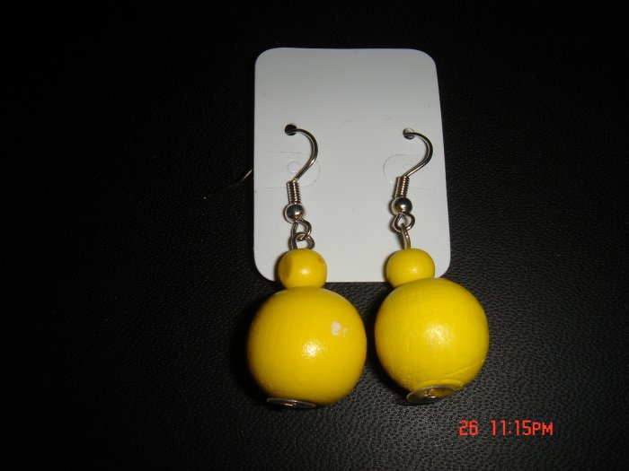 Promotional Price*Yellow Wood Bead 925 hook Dangle Earrings on Card**