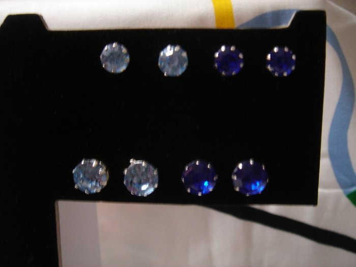 Gift Set 1 pair 9mm Diamond Rhinestone 925 Studs Earrings~choose color