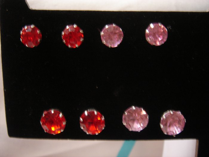 Molly 1 pair 9mm Rhinestone 925 Studs Earrings~choose color**FREE Silver Foil Gift Box