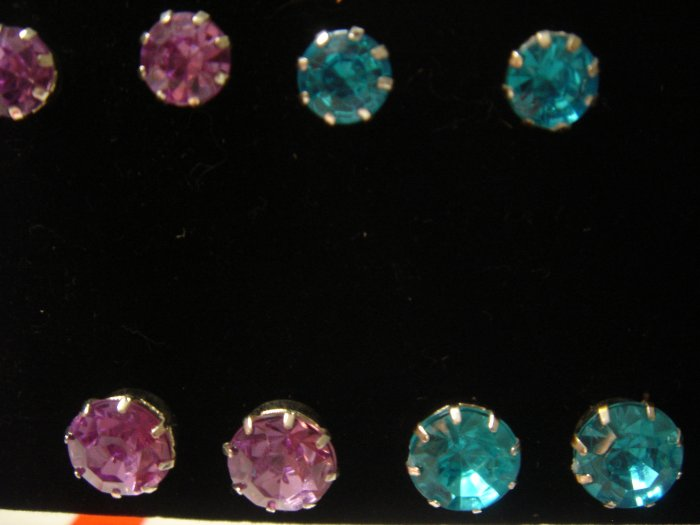 Molly 1 pair 9mm Rhinestone 925 Studs Earrings~choose color**FREE Silver Foil Gift Box and packaging