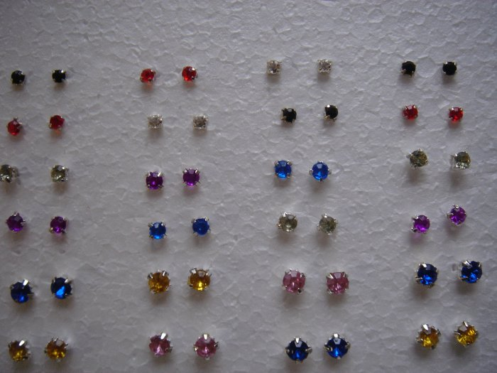 3-6mm Assorted Round Colorstone Studs Earrings**