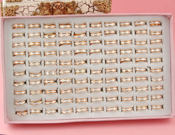 1 Alloy Metal Gold toned Ring choose 16-19mm w/ Silver Foil Cotton Filled Gift Box Packaging