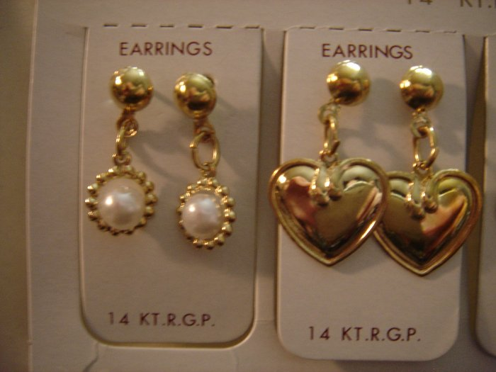 1 Pair Korea 14Kt R.G.P Gold Dangle Earrings Gift Set**FREE Silver Foil Cotton Filled Gift Box