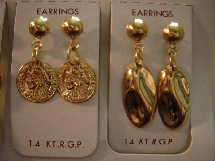 1 Pair Korea 14Kt R.G.P Gold Dangle Earrings Gift Set**FREE ship
