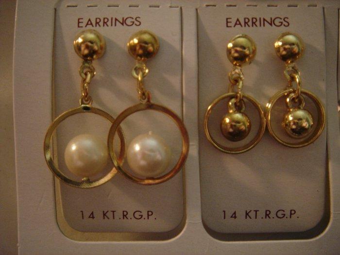 1 Pair Korea 14Kt R.G.P Gold Dangle Earrings Gift Set**FREE Gift Box