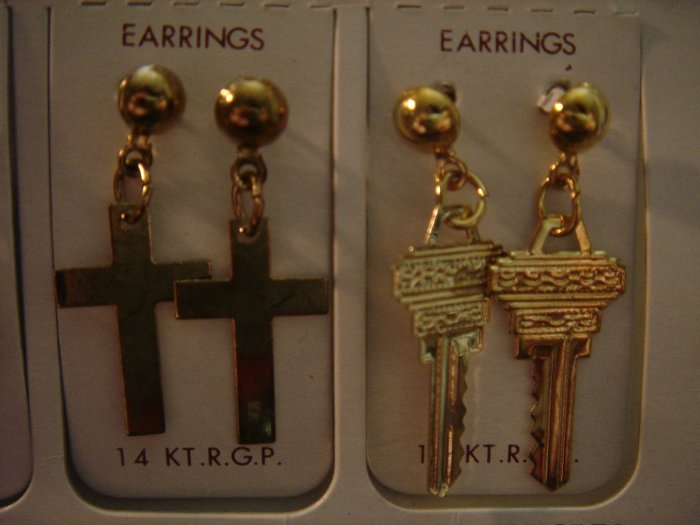2 Pair Korea 14Kt R.G.P Gold Dangle Earrings Gift Set**FREE Gift Box