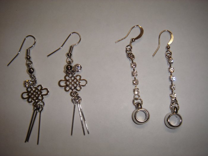 2 Pair Diamond Chandelier Knot and Round Dangle Earrings**HIGH QUALITY!!**
