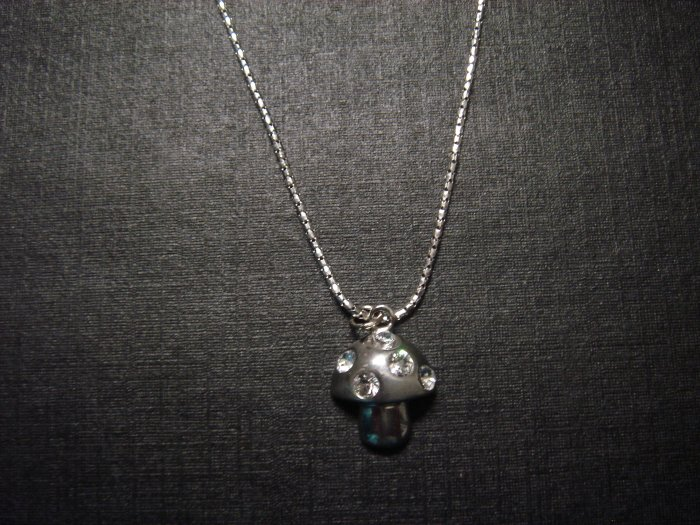 Silver Mushroom Diamond Necklace**FREE Gift Box
