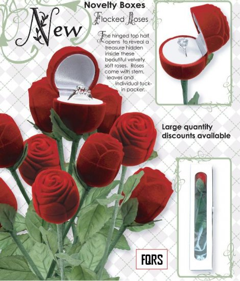 1 Velvet Long Stem Propose/Marriage Anniversary/ Red Rose Jewelry Ring Gift Box