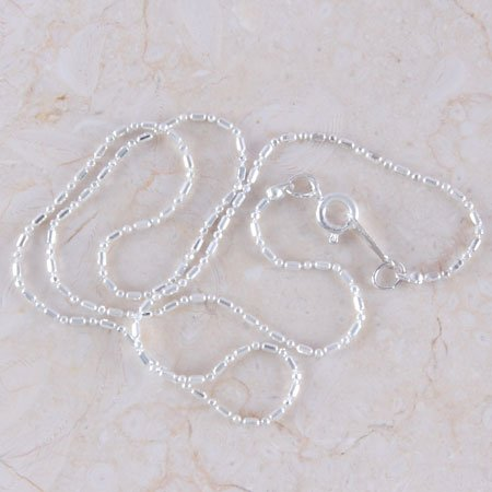 "1 Strand 16"" Silver plated Faceted Beads Necklace"
