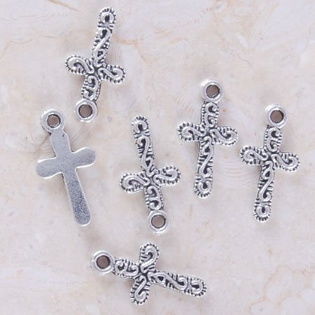 20 Antique Silver Crucifix Cross charms Pendant* DIY Handcrafted Necklace, Earrings, Bracelet