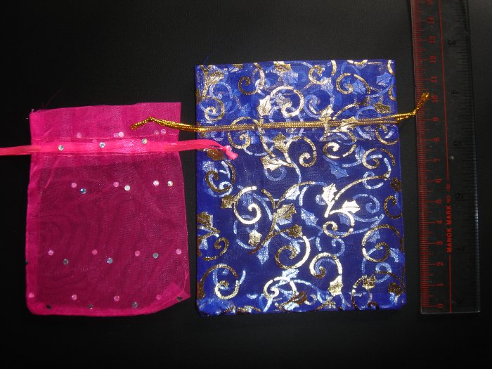 Lot of 2 Candy Gift Organza Pouch, Pink and Blue