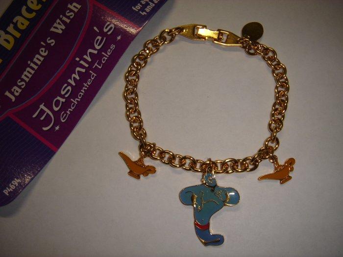 14kt RGP Gold Disney Aladdin charm Bracelet on Card