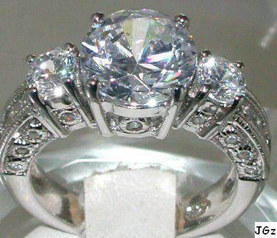 3.0+CT 3 STONES BRILLIANT & PRINCESS CUT RING * SZ 7 *