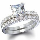 2.5 CT PRINCESS CUT ENGAGEMENT/BRIDAL RING SET * Sz 7 *