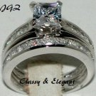 2.0 CTW PRINCESS CUT ENGAGEMENT RING SET Sz. 7 * NEW *