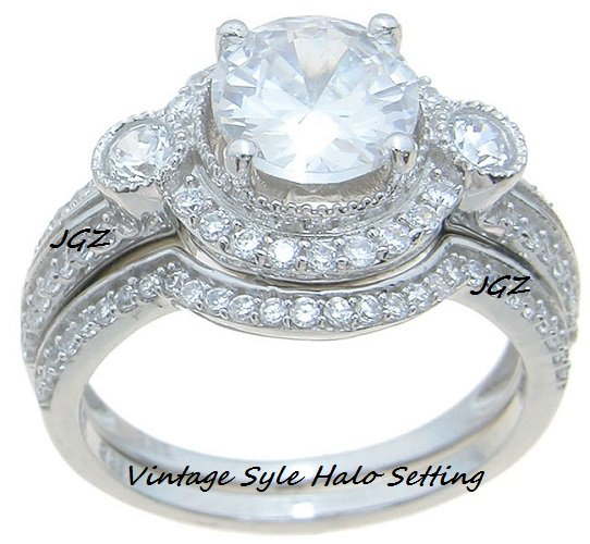 Halo Setting Vintage Style Engagement/Wedding set *Size 5,6,7,8,9 *