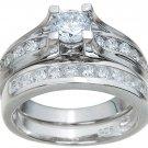 Engagement/Wedding Cathedral Style Ring set * SZ 5,6,7,8,9 * FREE Velvet Box *
