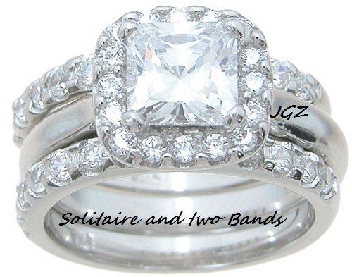 Engagement/Wedding Halo setting Double Band Ring set * SZ 5,6,7,8,9 *