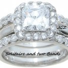 Engagement/Wedding Halo setting Double Band Ring set * SZ 5,6,7,8,9 *