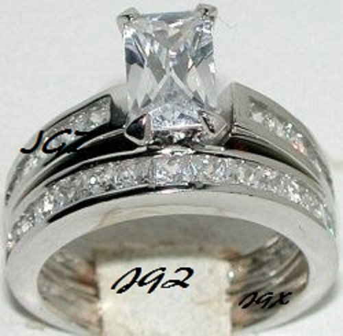 Engagement/Wedding Ring set * 1.5 ct Emerald cut Center stone* Size 5,6,7,8,9 *