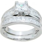 Engagement Ring set Classy Cathedral Princess cut design. Sz 5, 6, 7, 8, 9