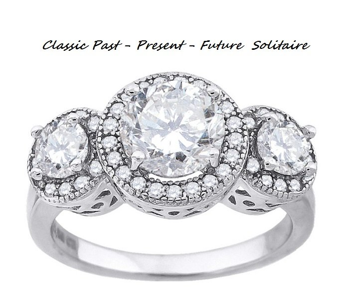 Classic 3 Stone *past-present-future * Solitaire Ring *sz 7*
