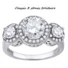 Classic 3 Stone *past-present-future * Solitaire Ring *sz 8*