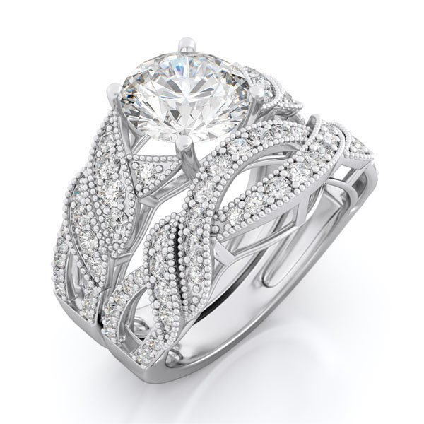 3.5 CT Round Brilliant cut Engagement Ring set * Sz 7 *New*FREE Gift Box *