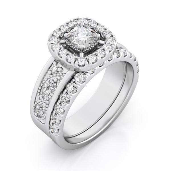 1.5 Ct Engagement 2 Ring Set * Size 8 * New *free Gift Box *